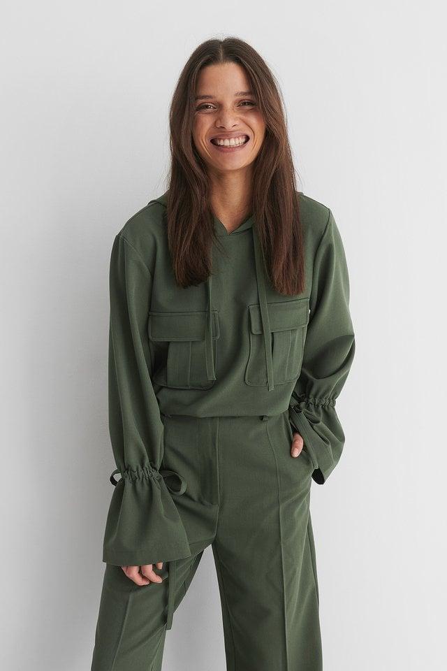 Pocket Detail Shirt Hoodie Green