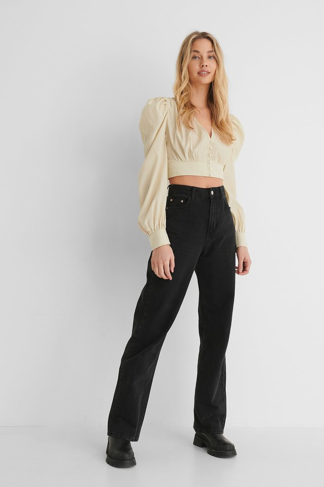 Gathered Detail Balloon Sleeve Blouse with Wide Leg High Waisted Denim.
