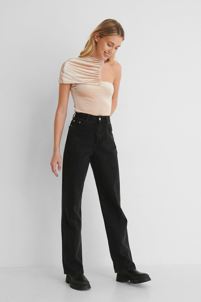 Gathered Detail Top with Wide Leg High Waisted Denim.