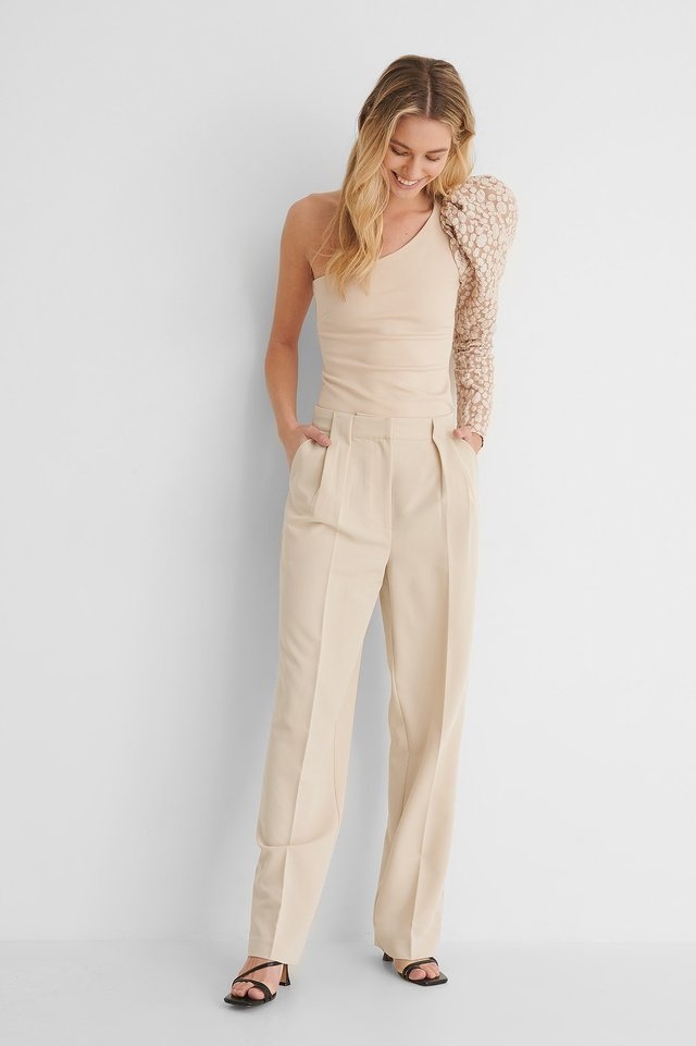 One Shoulder Puff Sleeve Top with Pleat Detail Straight Suit Pants.