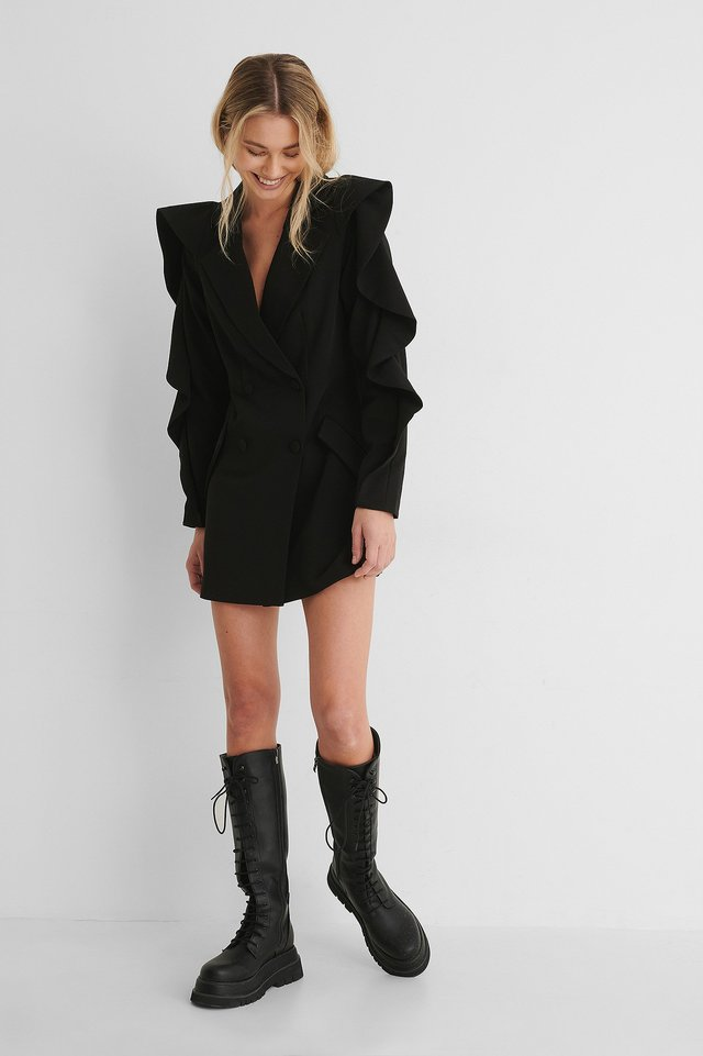 Marked Shoulder Blazer Dress