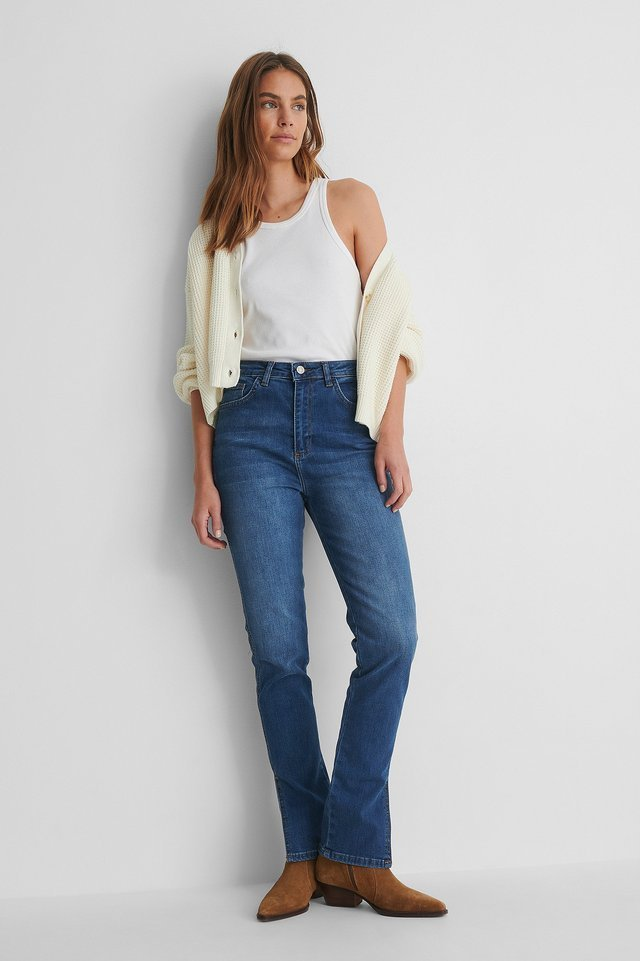 Slit High Waist Slim Jeans Outfit.