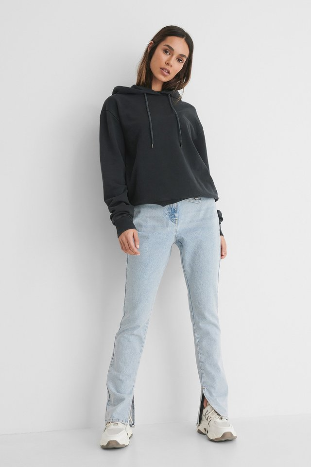 Stone Washed Hoodie with Jeans.