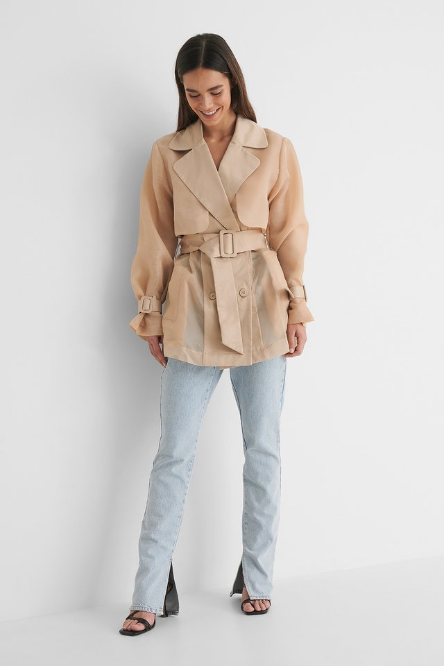 Organza Detail Trenchcoat Outfit.