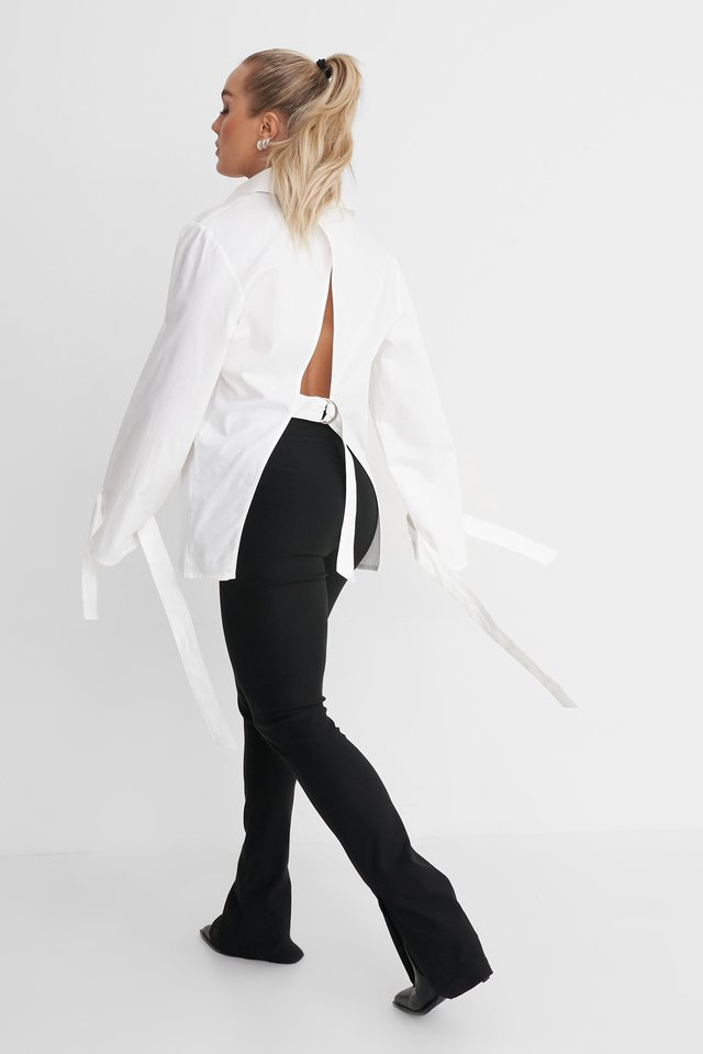 Open Back Cotton Shirt Outfit.