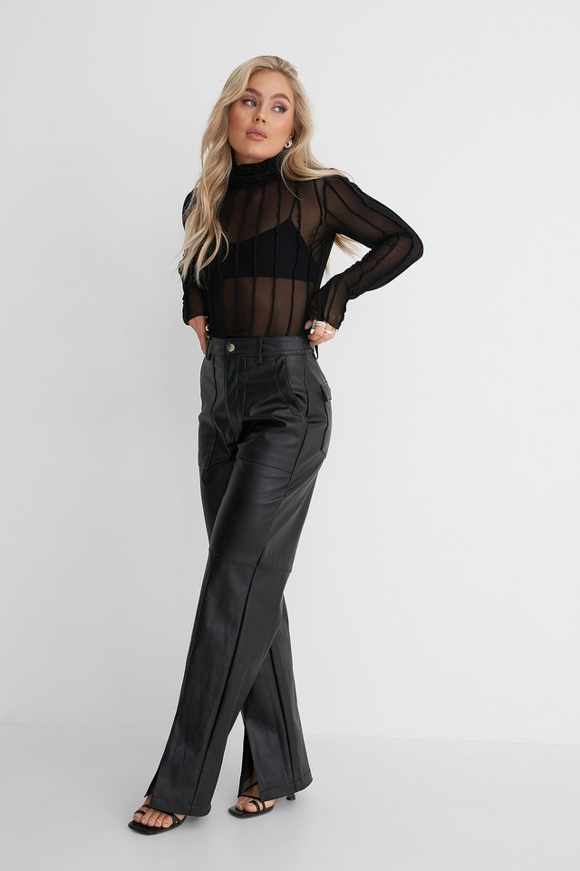 Pleated Mesh Polo Top Outfit.
