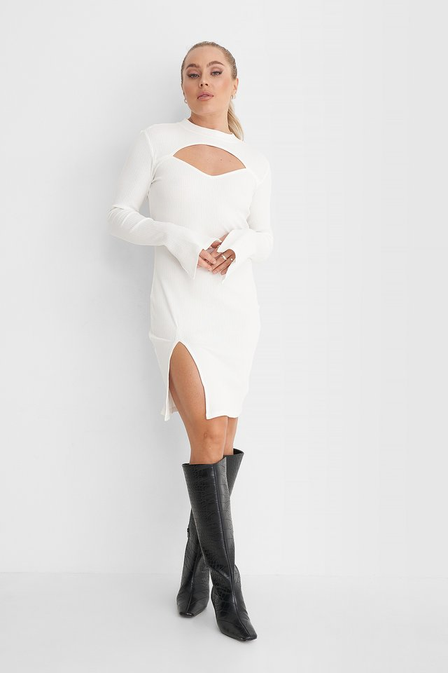 Cut Out Ribbed Slit Dress Outfit.