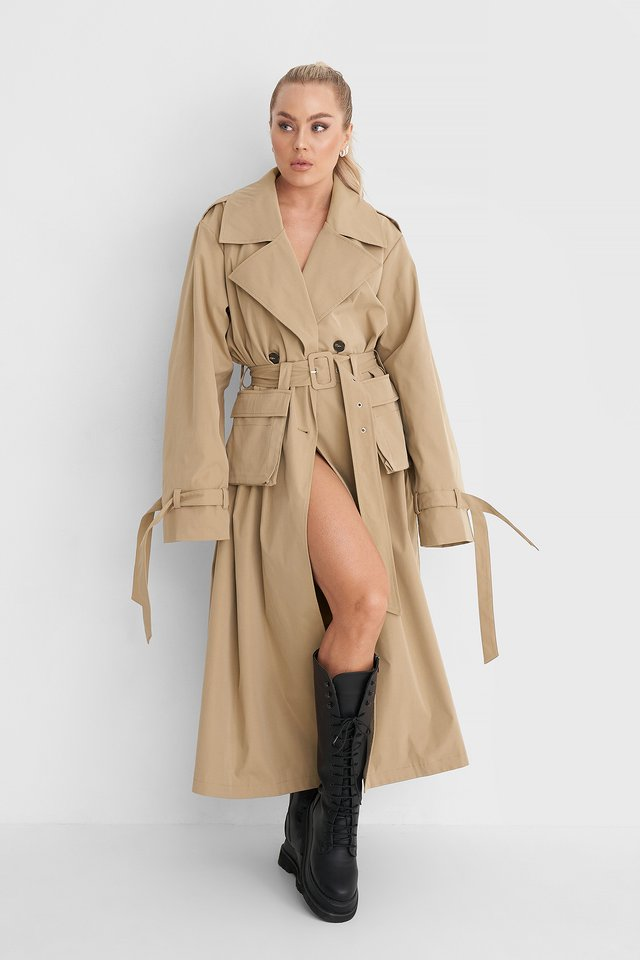 Loose Pocket Trench Coat Outfit.