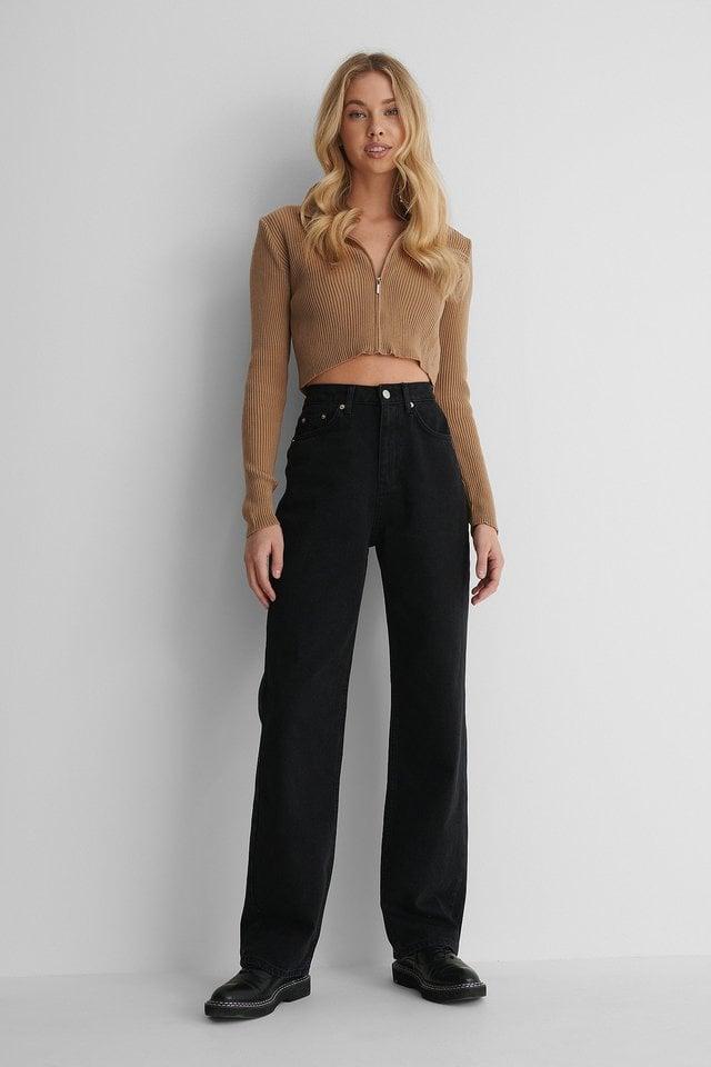 Wide Leg High Waisted Denim Outfit.