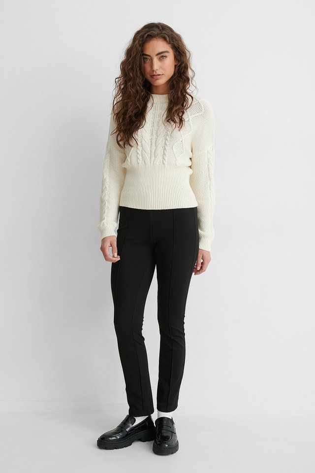 Rib Detail Cable Knitted Sweater Outfit.