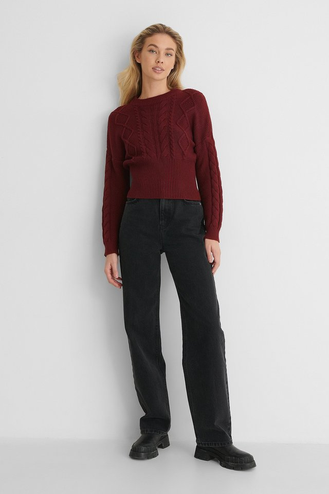 Rib Detail Cable Knitted Sweater Outfit!