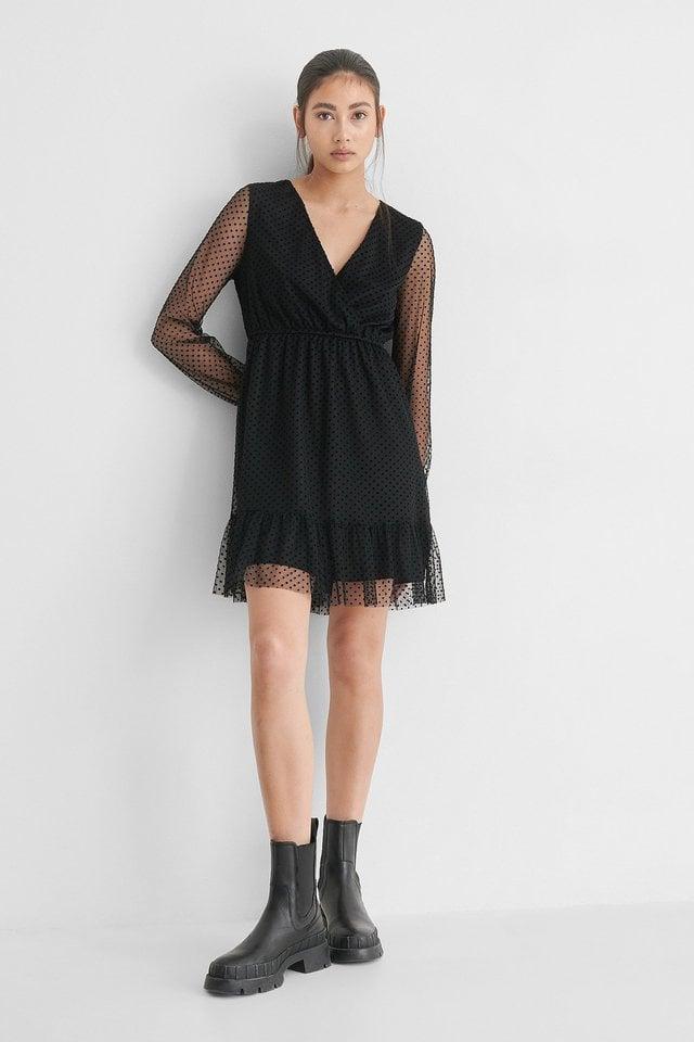 Dot Detail Chiffon Dress Outfit.