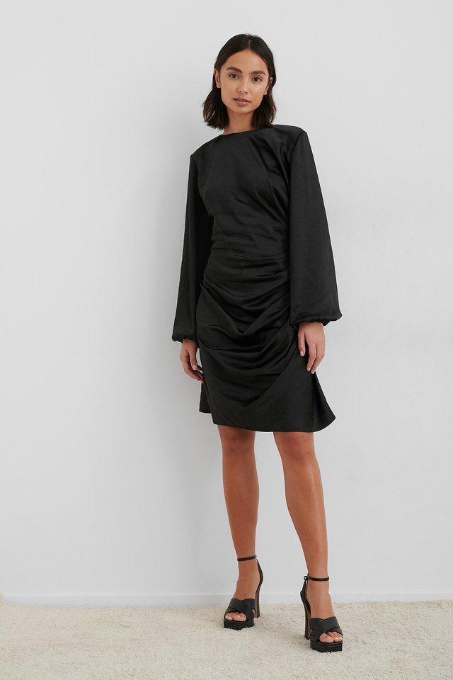 Black Ruched Satin Dress