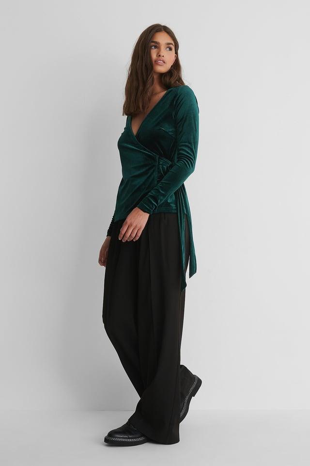 Green Velvet Wrap Top