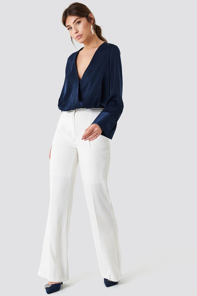 Wrap Satin Top with Wide Trousers
