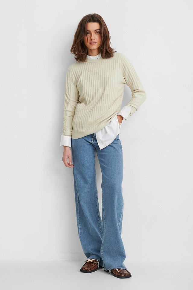 Basic Soft Roundneck Sweater Outfit.