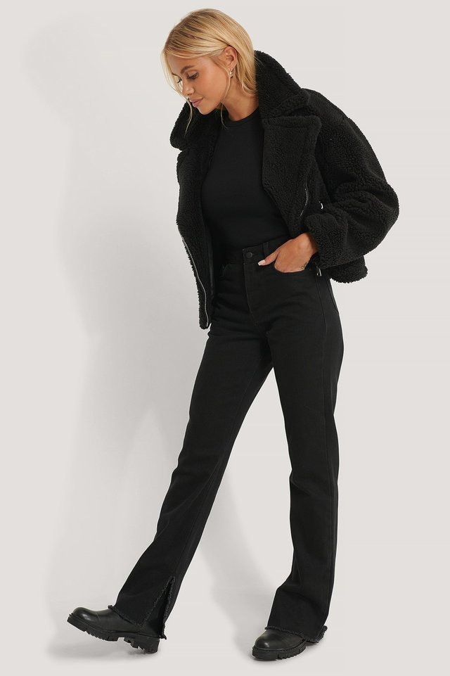 Short Teddy Zipper Jacket Outfit.