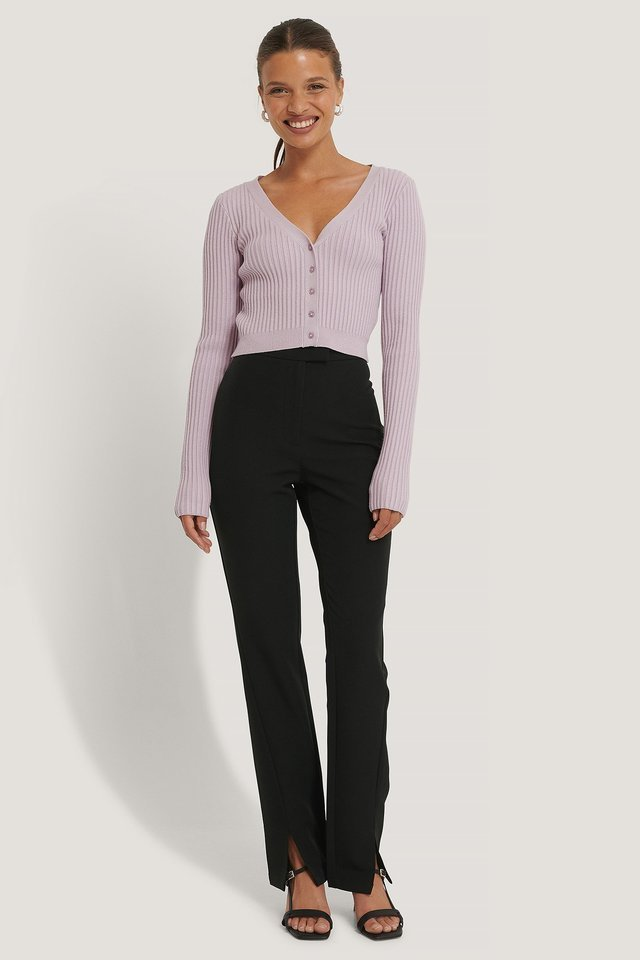 Front Slit Suit Pants Outfit.