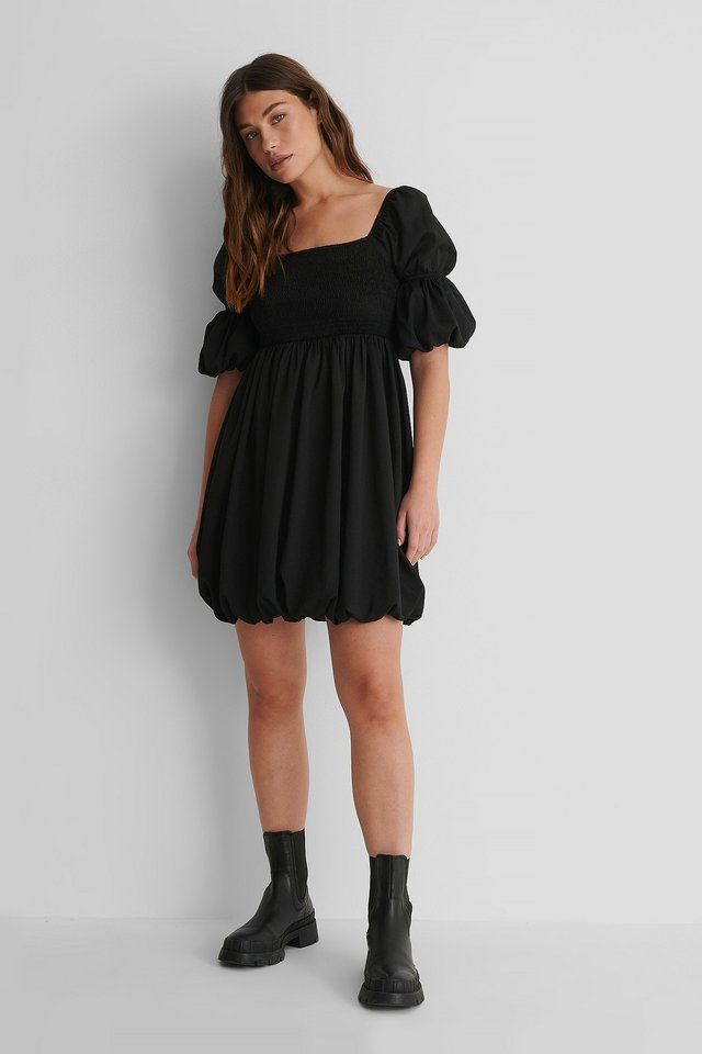 Smocked Mini Dress with Lace Boots.
