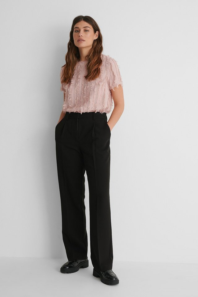 Round Neck Textured Top with Black Suit Pants.