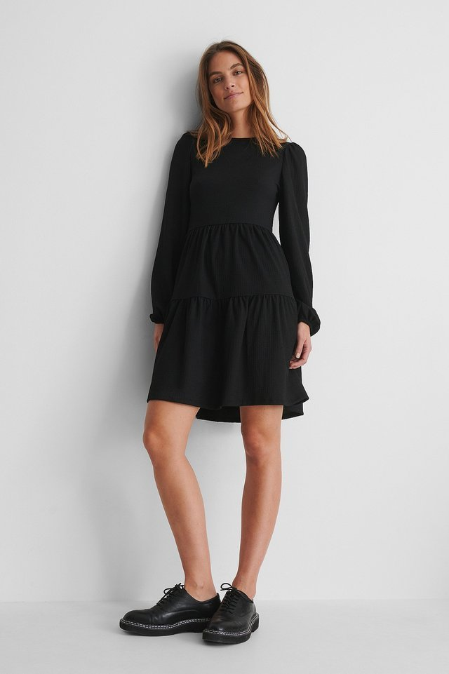 Crepe Puff Sleeve Dress with Black Shoes.