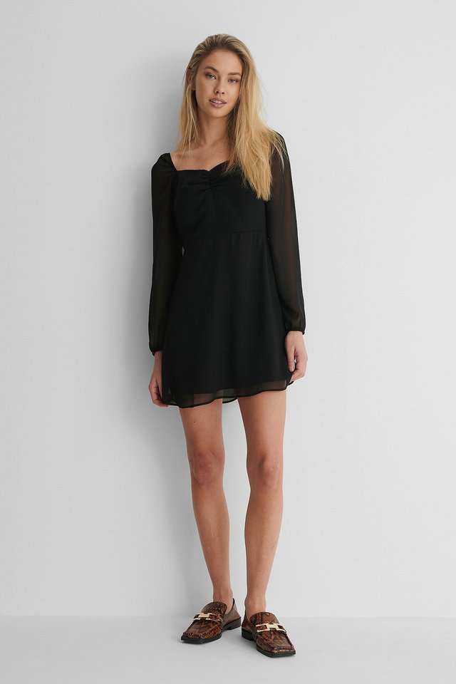 Long Sleeve Crêpe Mini Dress