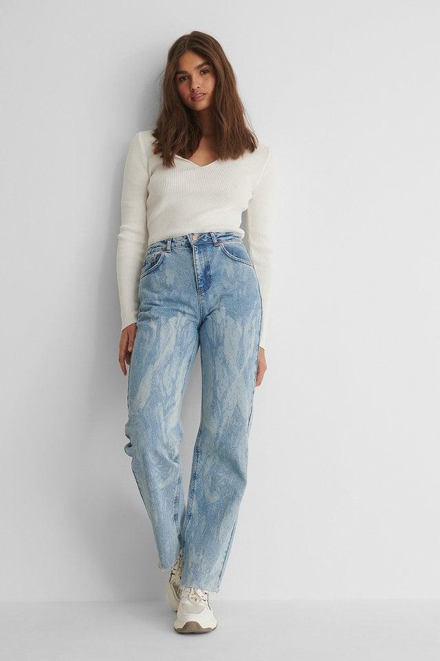 Laser Tie Dye Straight Jeans