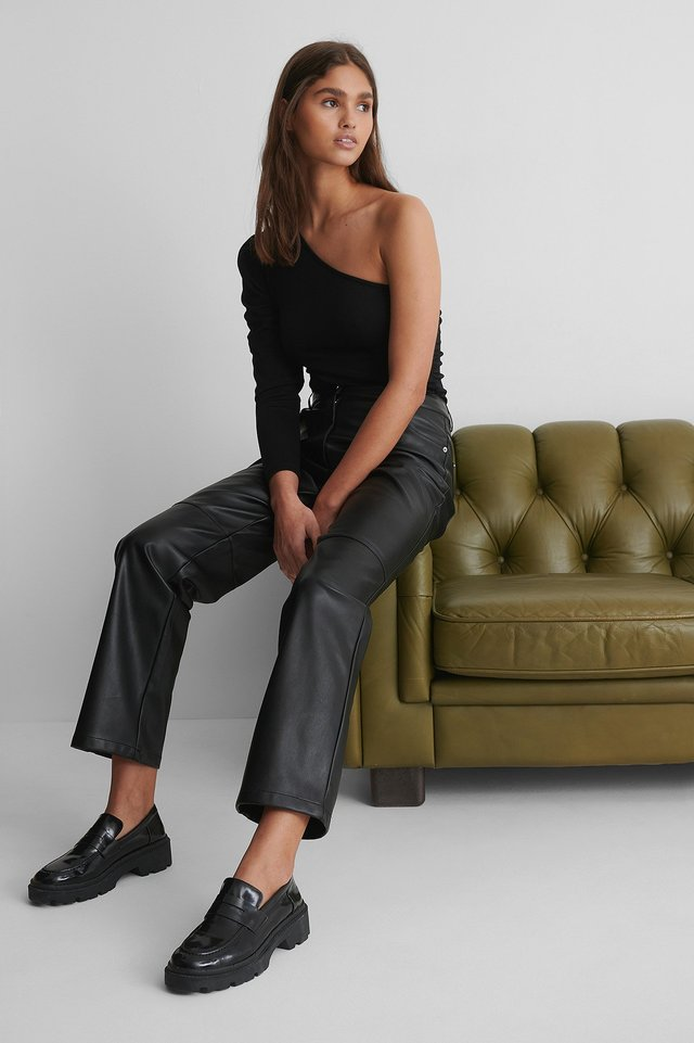 One Shoulder Rouched Body with PU Pants and Loafers.