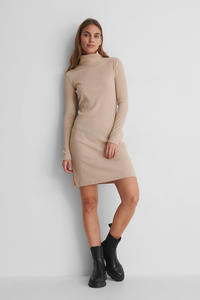 High Neck Rib Dress with Chunky Boots.