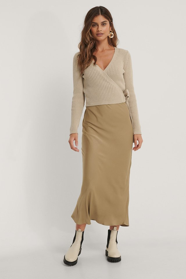 Organic Ribbed Knitted Overlap Sweater Outfit