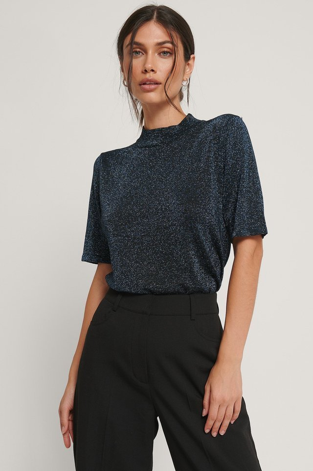 Short Sleeve Glitter Knitted Sweater Outfit.