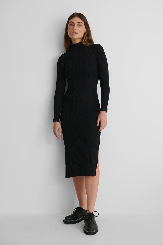 High Neck Ribbed Slit Dress,
