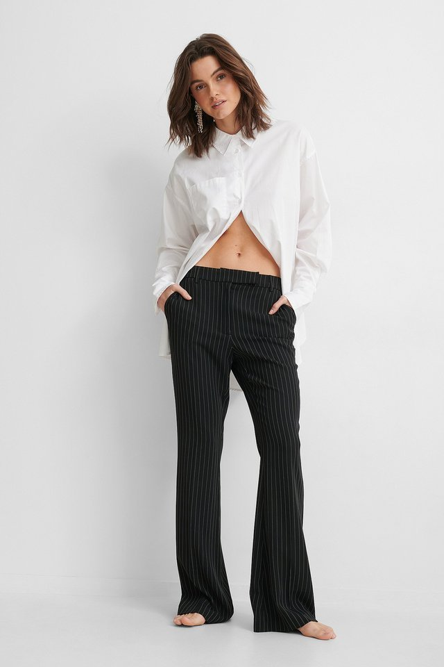 Flared Pinstriped Pants