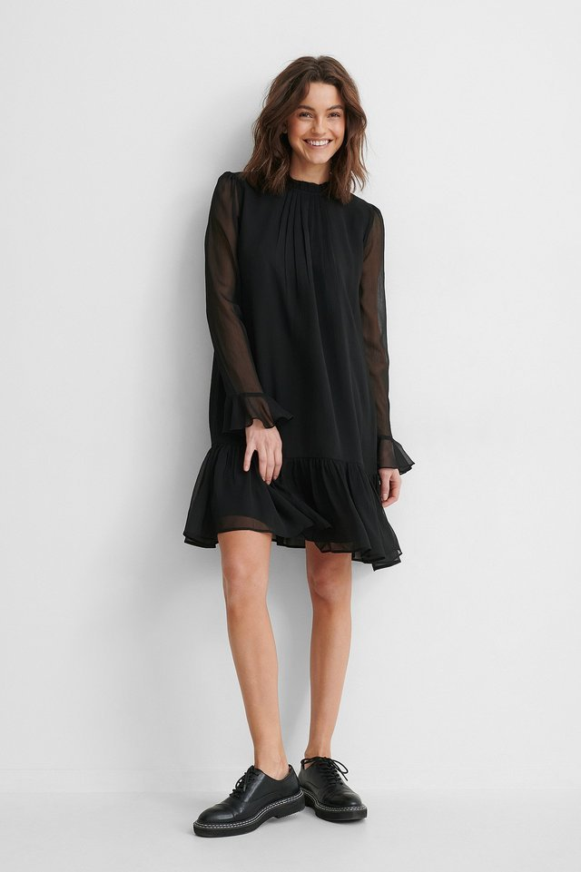 Puff Sleeve Pleated Chiffon Dress