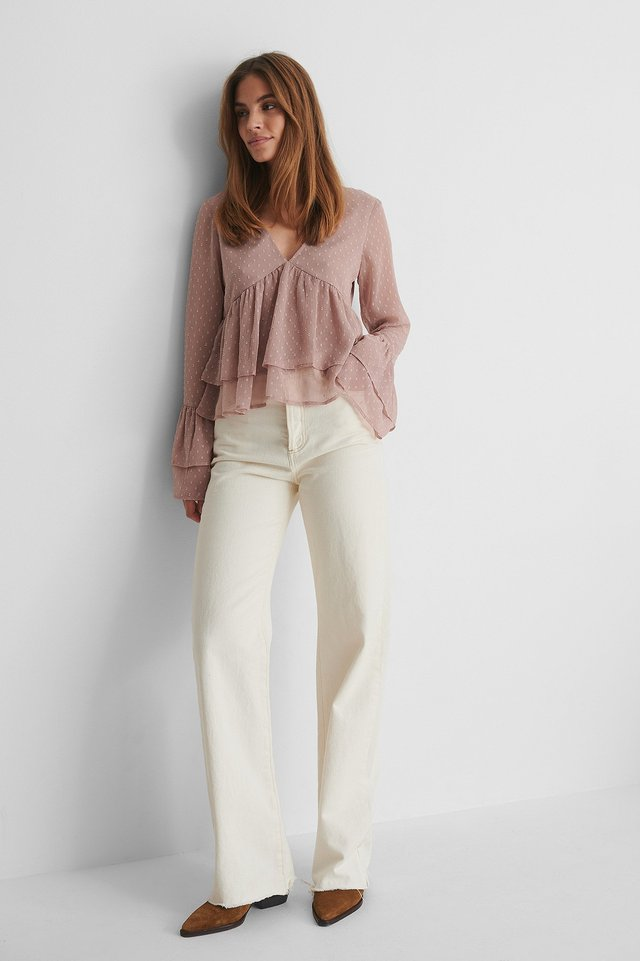Dobby Flounce Blouse with Off White Jeans.