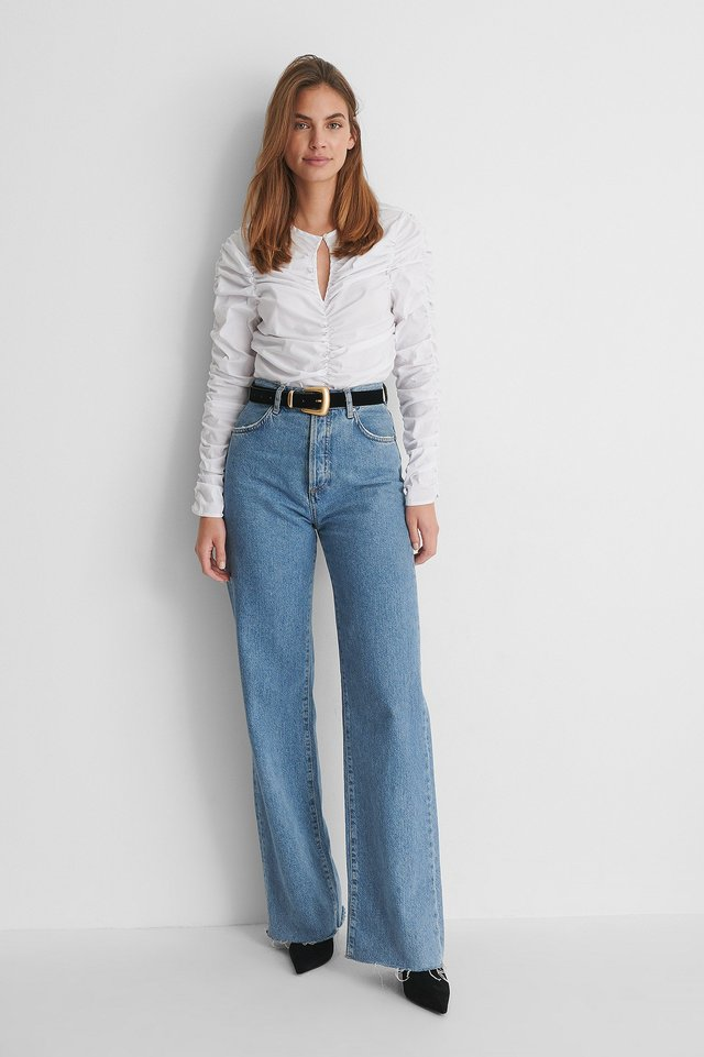 Draping Keyhole Top with Wide Leg Jeans.
