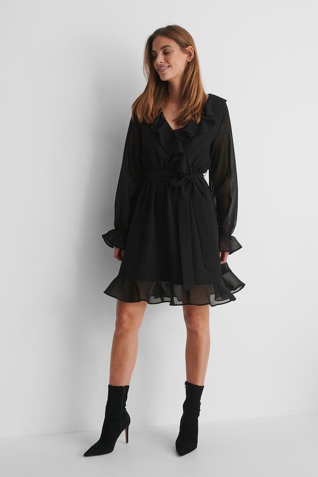 Flounce Chiffon LS Mini Dress with Heels.