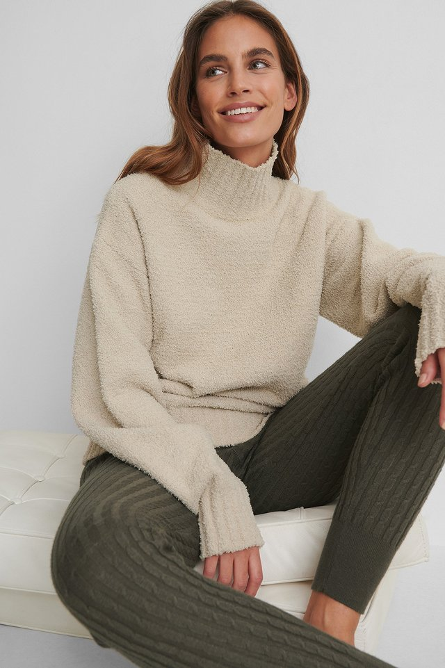 High Neck Knitted Sweater with Ribbed Tights.