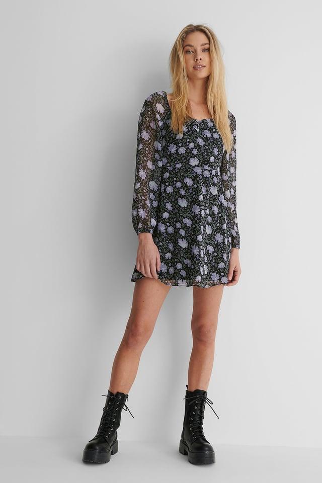 Long Sleeve Crêpe Mini Dress Outfit.