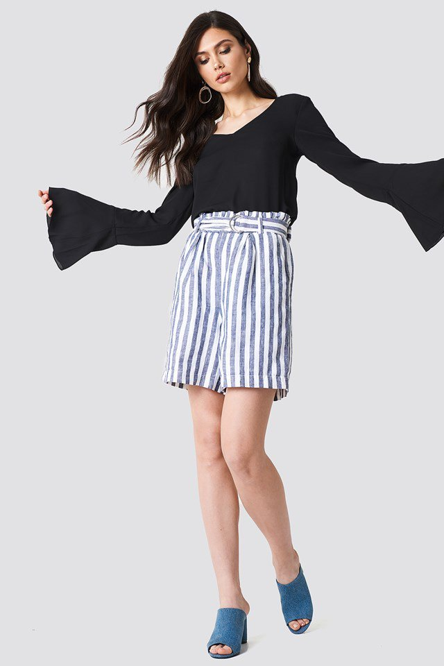 Tie Back Blouse with High Waist Shorts