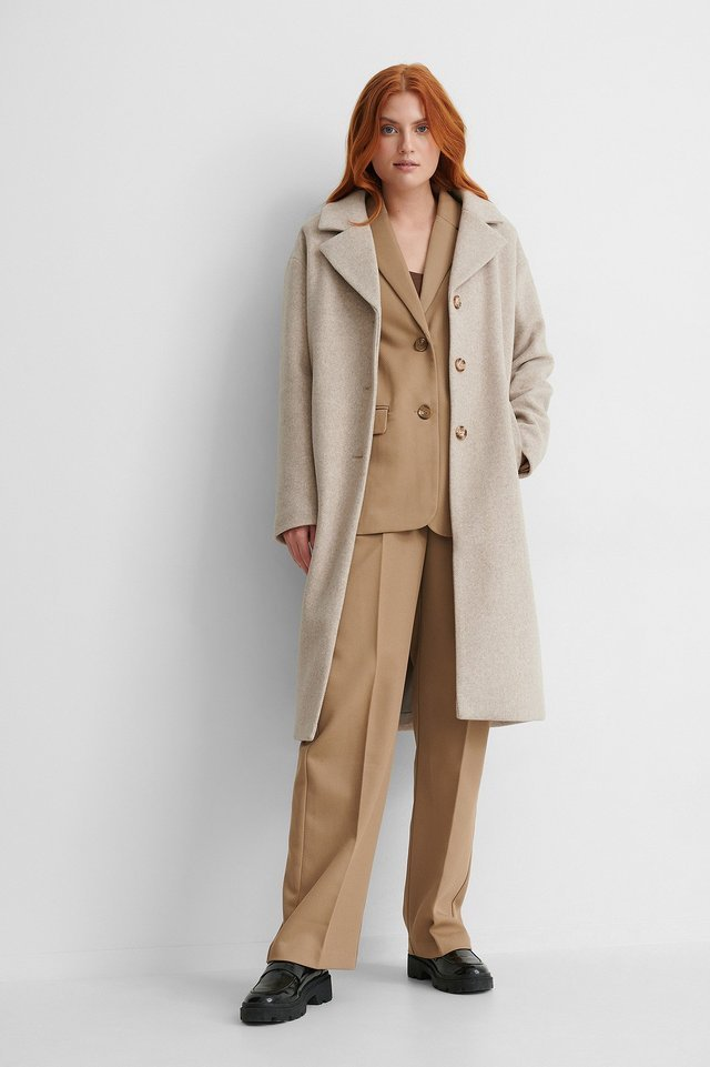 Classic Belted Coat Beige.