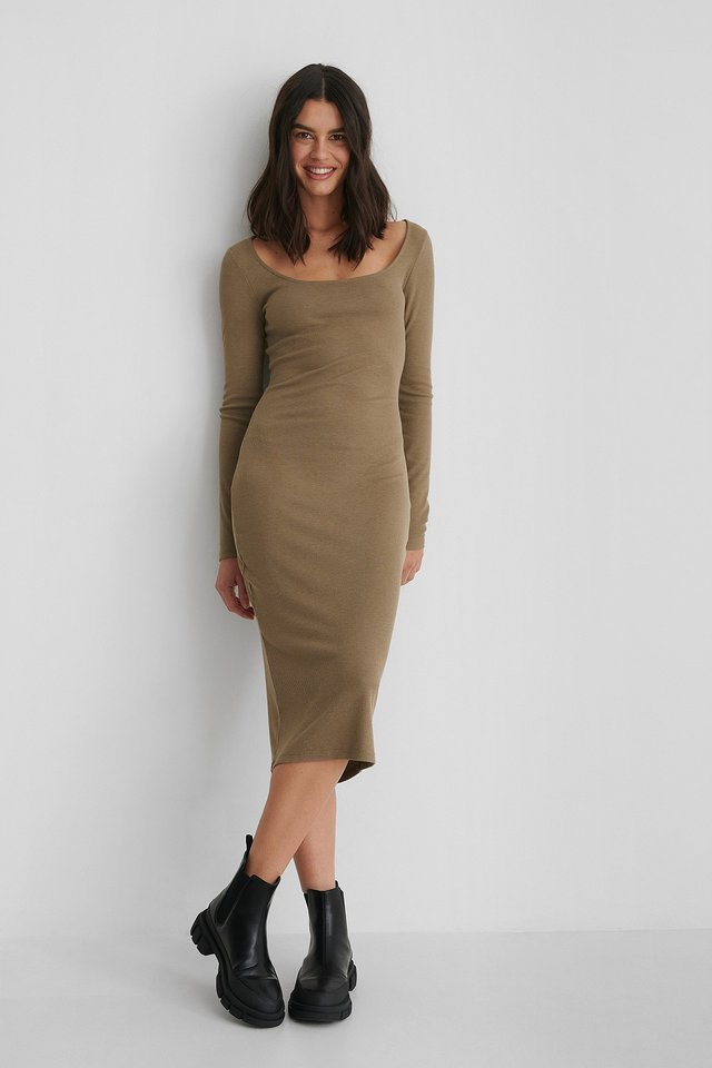 Round Neck Rib Dress Outfit.