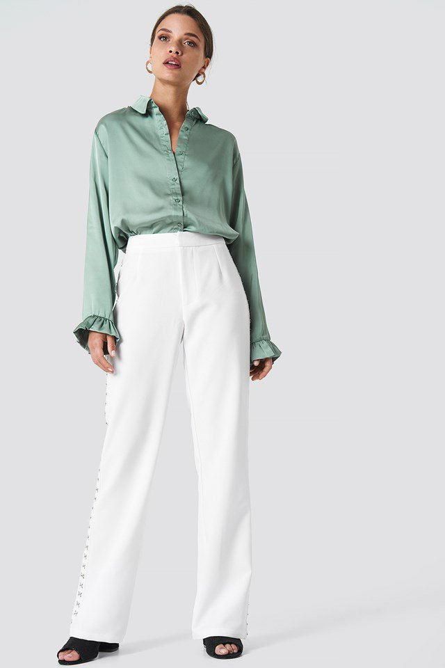 Satin Shirt with Wide Leg Trousers