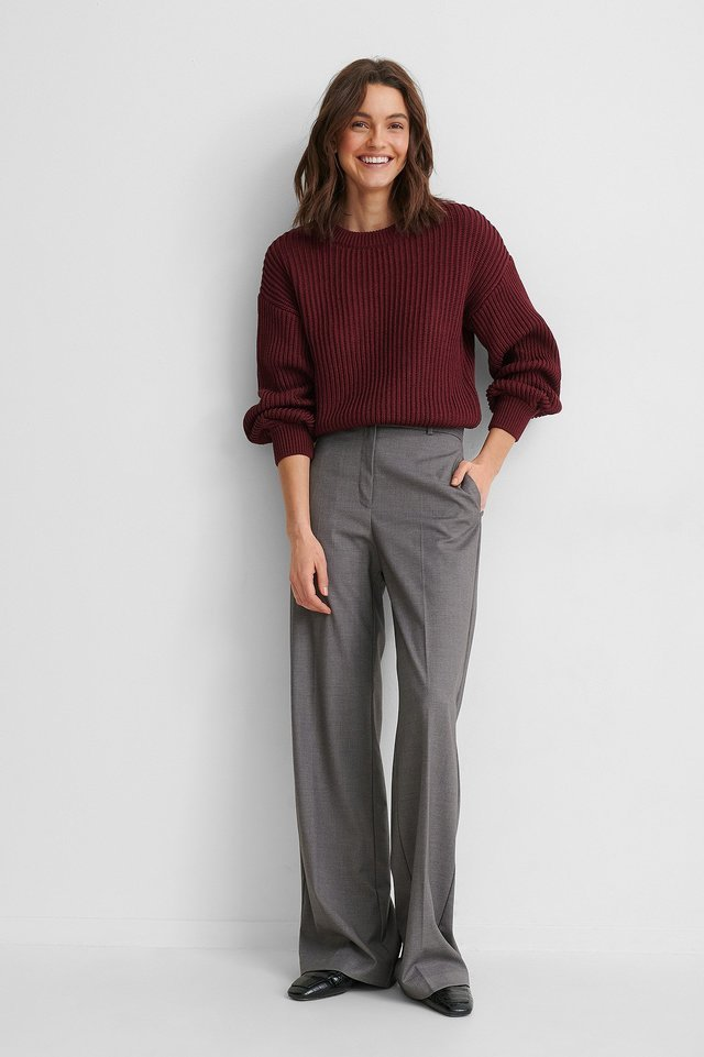Balloon Sleeve Round Neck Sweater Outfit.