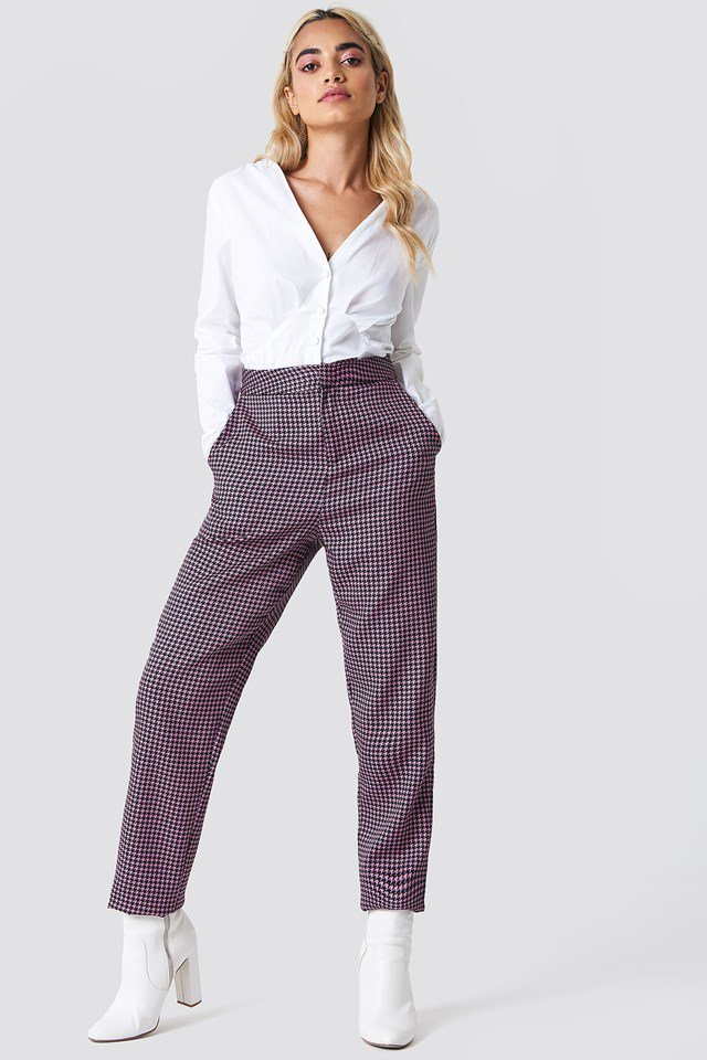 Long Sleeve Buttoned Blouse with Trousers