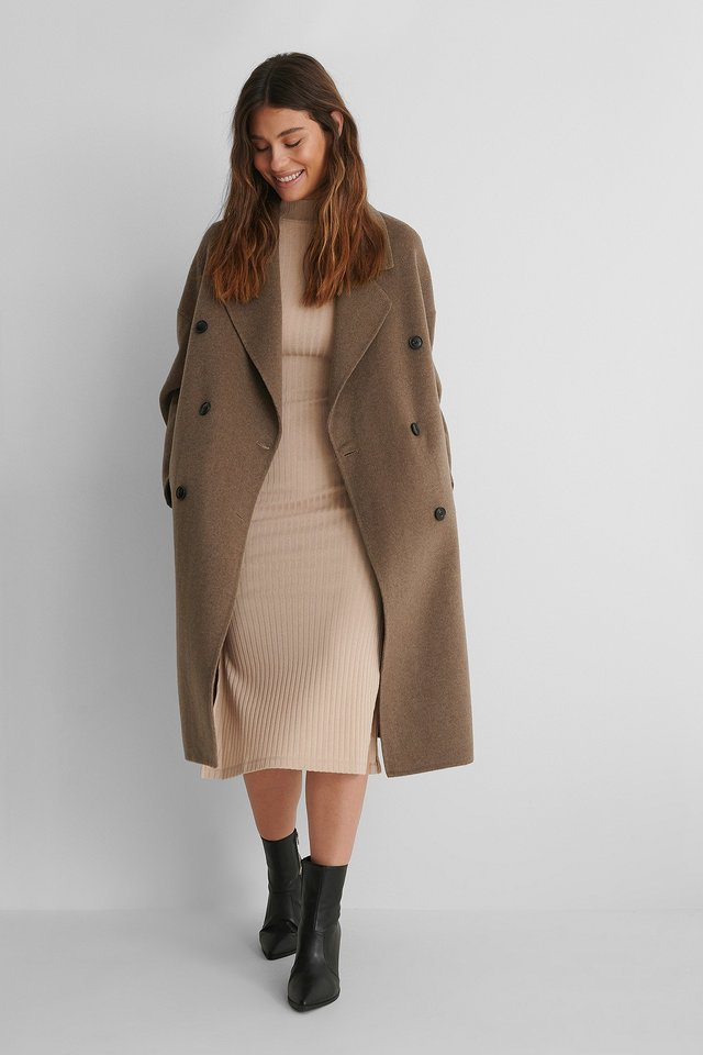 High Neck Rib Slit Dress with Buttoned Coat and Heels.