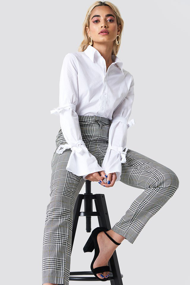 Double Tie Detail Shirt with Patterned trousers