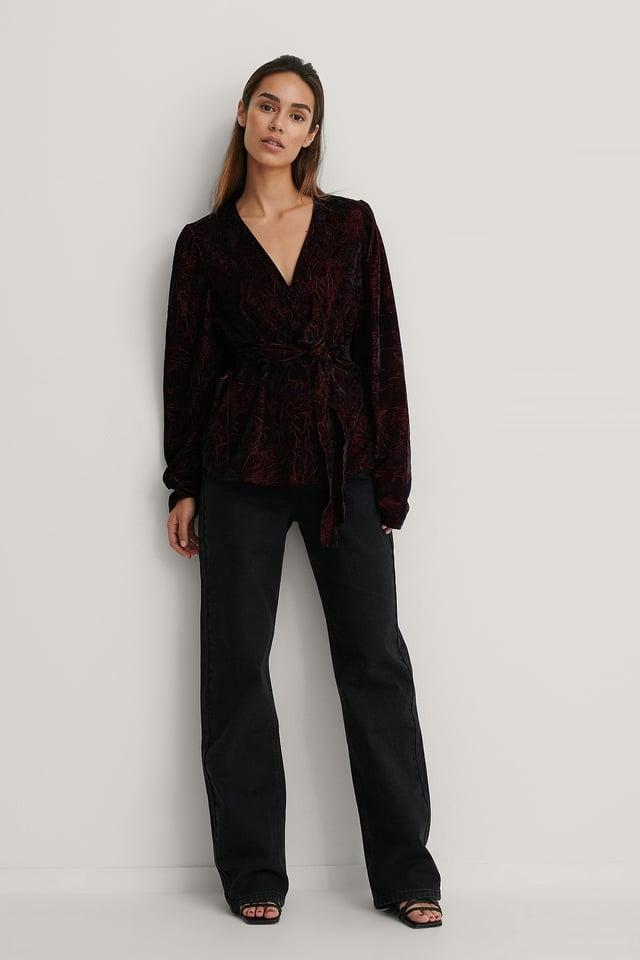 Velvet Puff Sleeve Kimono Outfit.