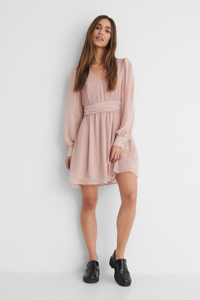 V-Neck Gathered Mini Dress Outfit.
