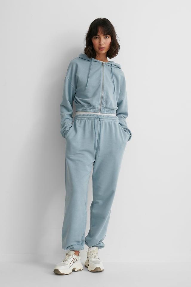 Zip Detail Hoodie with Pocket Detail Sweatpants.